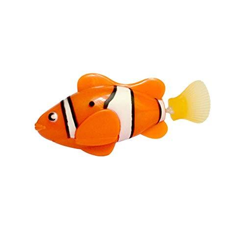 QiKun-Home Mini Juguete de baño, pez biónico, natación eléctrica, pez mágico Le Bao, Mundo Submarino, mar Profundo, pez con detección electrónica, Naranja