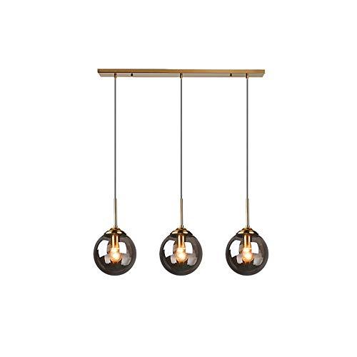 Luces colgantes retro retro industriales, 3 llamas  Lámpara colgante de la lámpara de la lámpara de la bola de cristal de 15 cm para el restaurante Cocina Isla Sala de estar Dormitorio Sala de estudi