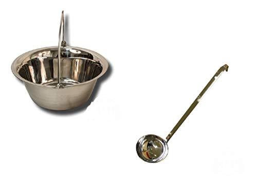 Unbekannt Set Gulaschkessel aus Edelstahl 14 Liter und Schöpflöffel aus Edelstahl