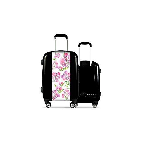 Valise CALIBAG (Format Cabine) à Fleurs s Noir