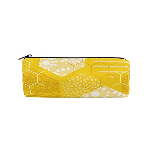 PUXUQU Estuche para lápices con forma de panal, color amarillo, para estudiantes, niños y niñas, escuela, oficina