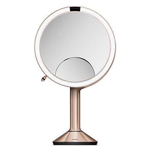 Simple Human Trio Miroir capteur 20 cm en Acier Inoxydable Or Rose Rechargeable 20 cm