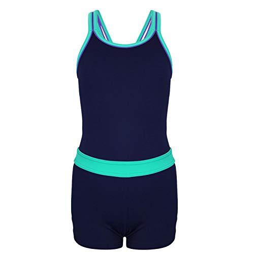 Aquarti Mädchen Badeanzug mit Bein Racerback, Farbe: Dunkelblau/Grün, Größe: 128