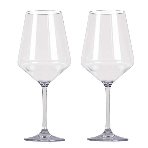 Polycarbonat Gläser 2 Personen Camping Küche glasklar Kunststoff Weinglas Trinkglas Trinkbecher Weißwein Rotwein Glas Becher Camping Picknick Geschirr Elegantes Design bruchfest Weinkelch 2 x 570 ml