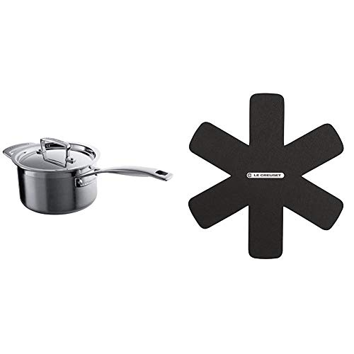 Le Creuset 3-Ply Stainless Steel Saucepan with Lid, 16 x 9.5 cm & Set of 3 Le Creuset Utensil Protectors, Adapted for All Types of casseroles, Black, 95003440140300