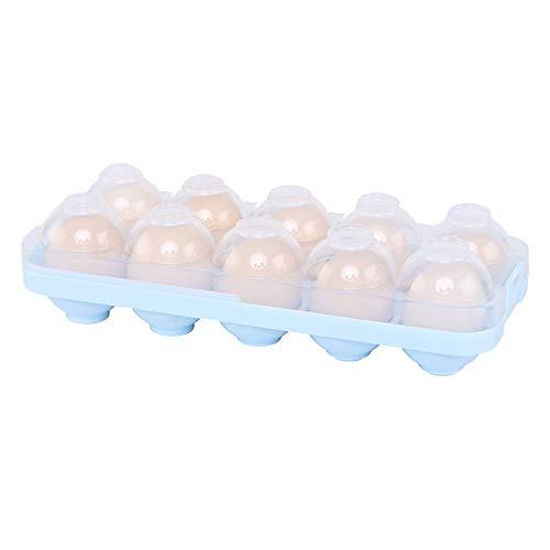Eierhalter Aufbewahrungsbox für Kühlschrank 10 Eier, Multifunktionsbox Transportbox aus Kunststoff für Eier, Eierhalter mit Griff für Küche, Blau