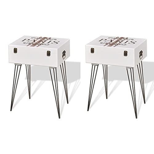 yeacher Bedside Cabinets Bedside Table Nightstands Bedroom Furniture,Bedside Cabinets 40x30x57 cm White,Pack of 2