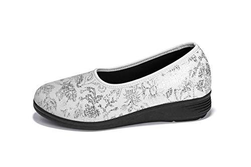 Aerosoft Damen Ballerinas, Komfortable Slipper, Bequeme Ballerina Schuhe, Stretch Schuhe, Innenmaterial: DERMATEST: SEHR GUT! (Weiß, Numeric_37)