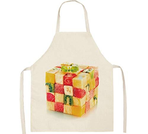 KaiXINSun Patrón Creativo Fruta Cubo De Rubik Delantal Lino De Algodón Suave, Delantales De Chef Hogar Cocina Cocina para Mujeres Hombres Niños Adultos Regalo 68 * 55 Cm