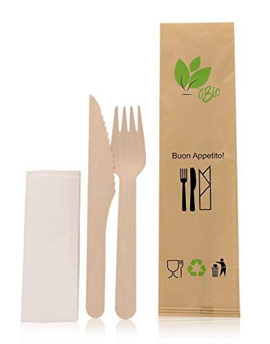 Exxens Juego de cubiertos desechables, biodegradables, empaquetados, tenedor y trapo, kit de...