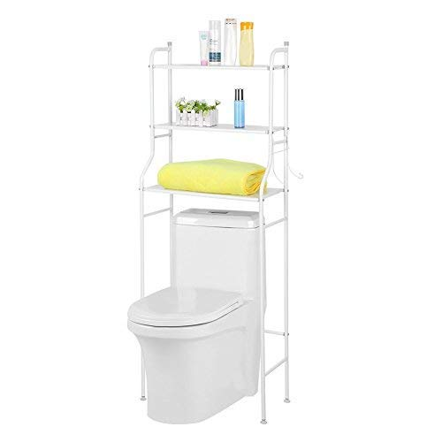 Liusin 3-Tier badkamer plank boven het toilet Space Saver Shelf Badkamer opbergkast Tower Toilet Shelf Organizer Stand Unit metalen frame Study Waterdicht met Haken- 22,05 x 9,84 x 59.45inch (wit) ZHW