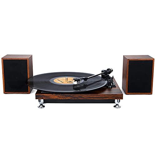 Tocadiscos Bluetooth con 2 Altavoz Externo, Tocadiscos de Vinilo de Estilo Vintage con 3 Velocidades 33/45/78, Salida RCA, Color Madera - NAVISKAUTO