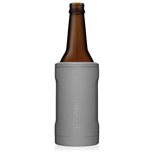 BrüMate Hopsulator BOTT'L Double-walled Stainless Steel Insulated Bottle Cooler for 12 Oz Bottles (Matte Gray)