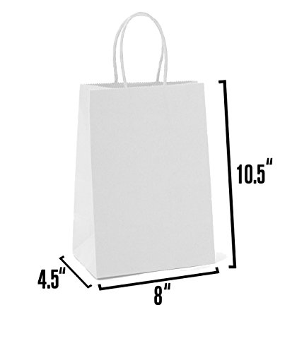 White Kraft Paper Gift Bags Bulk with Handles 8 X 4.5 X 10.5. Ideal for Shopping, Packaging, Retail, Party, Craft, Gifts, Wedding, Recycled, Business, Goody and Merchandise Bag (50 Bags)