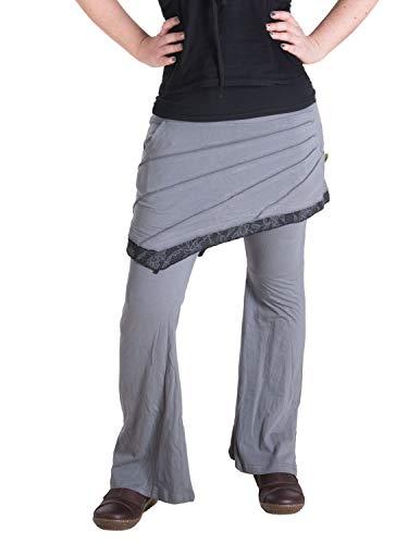 Vishes - Alternative Bekleidung - Hippie Schlag Hose mit asymmetrischem Patchwork Rock grau 38 bis 40