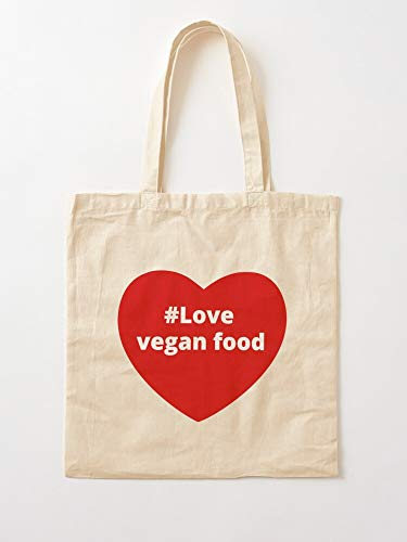 Vegan Herb I Food Veganism Heart Love Vegetable Tote Cotton Very Bag | Bolsas de supermercado de lona Bolsas de mano con asas Bolsas de algodón duraderas