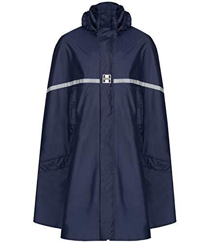 HOCK Premium Regenponcho mit Reißverschluss - Fahrradponcho Wasserdicht mit Reflektoren - Herren Damen Regenschutz - Hochwertige Regenbekleidung (Marine, XXL)