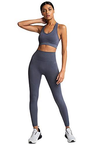 PowerLife MisShow Frauen Sportanzug 2 Teilig Elastizität Sport Tops Yoga Jogging Leggings Capri Fitness Laufende Outfits Activewear Trainingsanzug Set Grau S