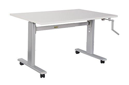 Dila GmbH Bürotisch Schreibtisch manuell höhenverstellbar mit grauen Tischgestell Workstation Büromöbel Arbeitstisch Produktionstisch (120 x 80 cm, Buche)