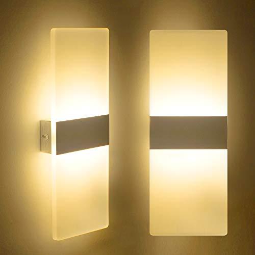 LED Wandleuchte Innen 12W Mordern Wandlampe Acryl Wandbeleuchtung Warmweiß 2700K für Wohnzimmer Schlafzimmer Treppenhaus Flur (2 Pack)