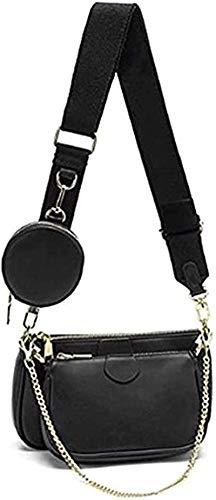 Mehrzweck Umhängetasche Damen Crossbody-Taschen Multi-Tasche 3-Teilig Geldbörse Reißverschluss Mode Handtaschen mit Münzbeutel Schwarz