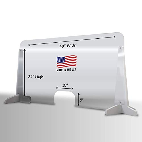 Sneeze Guard, Plexiglass desk shield - 48 x 24 Inches Plexiglass Shield - 10 x 5 Inches Transaction Window, Rounded Edges - Polycarbonate desk shields for germ protection with a PVC stand