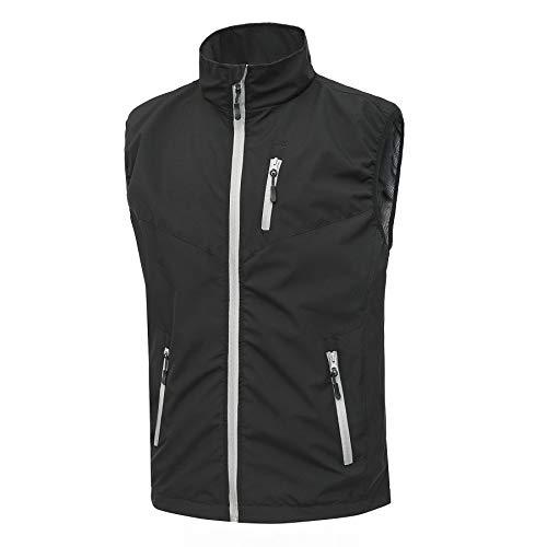 Heihuohua Men's Lightweight Softshell Vest , Windproof Jacket for Cycling Hiking Running Golf Black Large