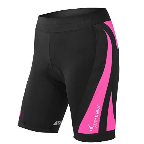 Sportneer 4D Short de Ciclismo Mujer Acolchado Pantalones Cortos Pantalón Cortos de Bicicleta de Montaña Transpirables Antideslizantes
