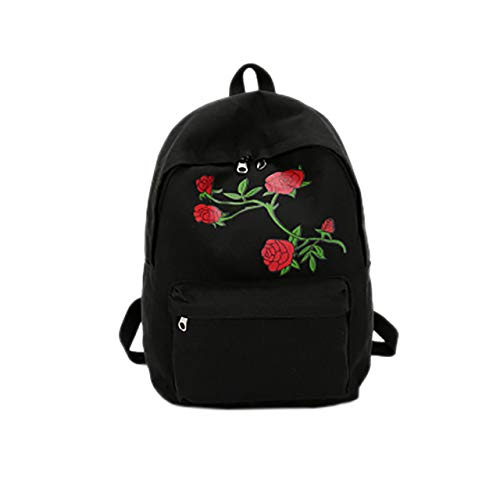 GQDP Mochila escolar 2019bordado Rose para adolescentes de viaje multifuncional anti robo, Black (Negro) - acqa-130