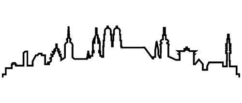 Samunshi® München Skyline Wandtattoo Silhouette in 8 Größen und 19 Farben (120x26cm schwarz)