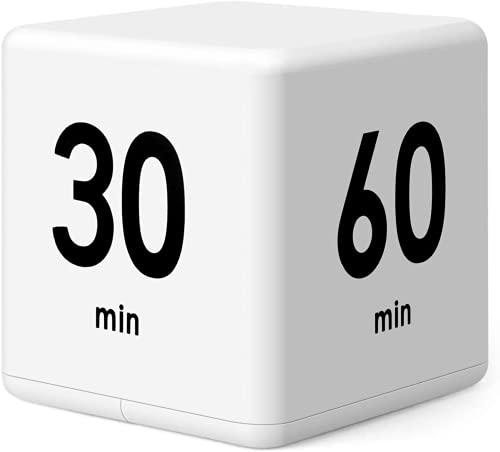 Faysida キューブタイマー タイマー ミニ サイコロ型 デジタルタイマー 1/3/5/10/20/30/60min 時間管理(ホワイト) とカウントダウン設定用 キッチン スポーツ 昼寝 子供 屋外 プレイ (15-20-30-60min)小型で持ち運びに便利 (ホワイト)