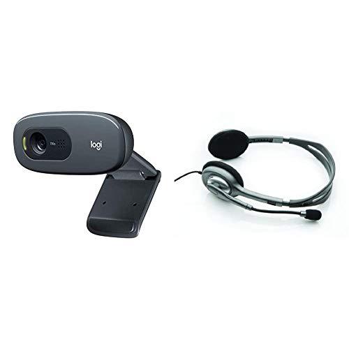 Logitech C270 Webcam HD, HD 720p/30fps, Videochiamate HD Widescreen, Correzione Automatica Luminosità & H110 Cuffie Cablate, Stereo con Microfono per Computer, Cancellazione Rumore