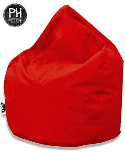 Patchhome Sitzsack Tropfenform - 3 Größen - 25 Farben XL - Höhe 105cm, Durchmesser 65cm Rot