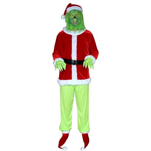 ishine Grinch Costume di Babbo Natale per gli Uomini 6pcs set Natale Deluxe Furry Adult Santa Suit Verde Vestito
