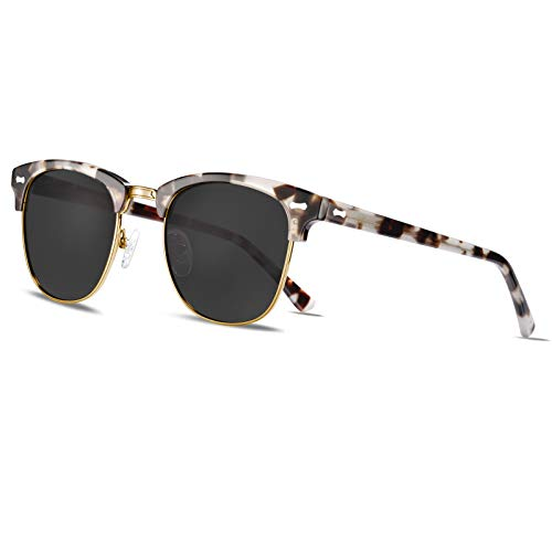 TSEBAN Medio Marco Clásico Retro Polarizadas Gafas de Sol Hombre UV400 Protección Aptos Para Conducción Golf Outdoor Sport Pesca (Montura Tortuga Blanca/Lente Gris)