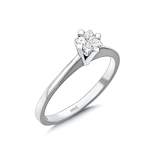 Aris Diamond Anillo de compromiso de oro blanco 585/14 quilates con diamantes de corte princesa de 0,17 quilates
