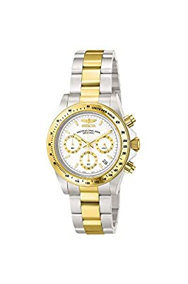 Invicta Men's Speedway 39.5mm Steel and Gold Tone Stainless Steel Chronograph Quartz Watch, Two Tone/White (Model: 9212)