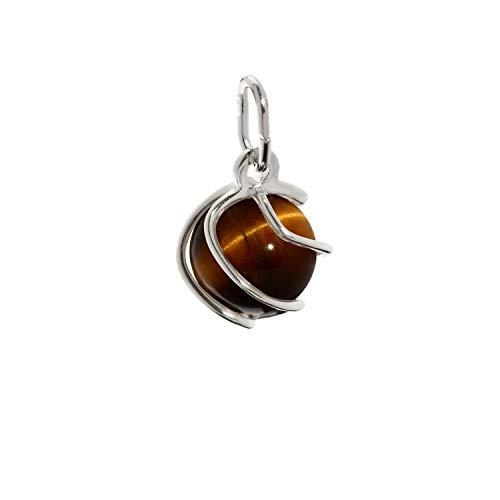 NKlaus collar esfera colgante plata de ley 925 ojo de tigre genuino 7mm damas 7868