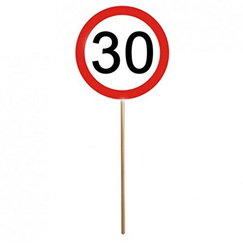 12er Set 30. Geburtstag Mini Schilder Verkehrsschilder mit Stab Deko