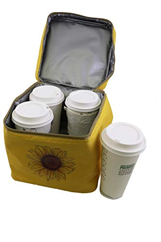 BevBag Insulated Beverage Carrier Model #200 with Shoulder Strap (Yellow, 4-Cup Carrier Without Tray). BevTray Sold Separately. Great for Uber Eats, DoorDash, GrubHub