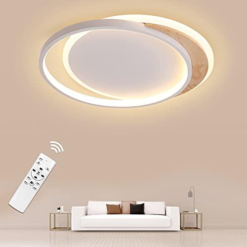 Plafoniera LED 24W Lampada da soffitto dimmerabile con Telecomando, Ø40cm Legno Rotonda Plafoniera LED, Moderno Plafoniera per Cucina, Soggiorno, Camera da Letto, Ufficio e più