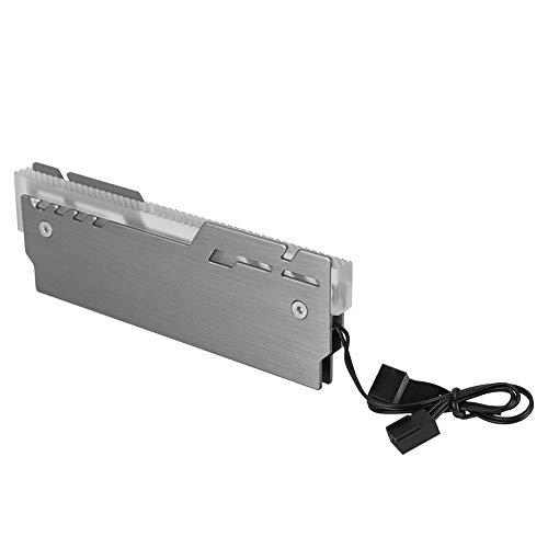 Enfriador de memoria RAM ARGB, disipador de calor DDR3 / DDR4 de 5 V y 3 pines con luces de colores de 1600 W, carcasa de RAM de aleación de aluminio para computadora, chaleco de refrigeración LED (pa