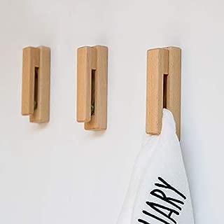 INFIN Towel Hook Punch Free Solid Wood Waterproof Bathroom Kitchen Self Adhesive Hook (Red Oak)