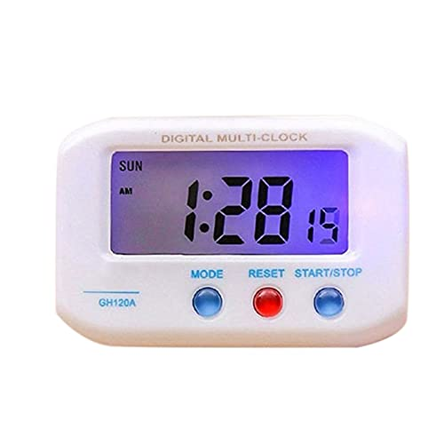 wzroy Reloj ElectróNico PortáTil con Calendario De Tiempo De Datos De Pantalla LCD Luminoso, PequeñO Reloj Despertador De Escritorio