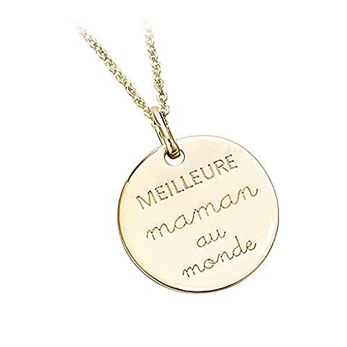 Tata Gisèle - Colgante chapado en oro de 18 quilates – Mejor mamá en el mundo – Grabado incluido – Bolsa de terciopelo de regalo