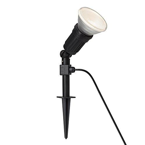 LED Außenstrahler mit Erdspieß inkl. 12W PAR38 E27 LED, IP44, 800 Lumen, 3000K warmweiß, Kunststoff, schwarz