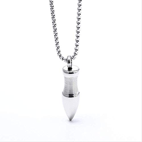 NC110 Necklace Wen Necklace Silver Color Bullet Ball Pendant Necklace for Men Boy Fashion Stainless Steel Chain Link Necklaces Army Jewelry Gift Soldier Punk Pendant Necklace Girls Boys Gift