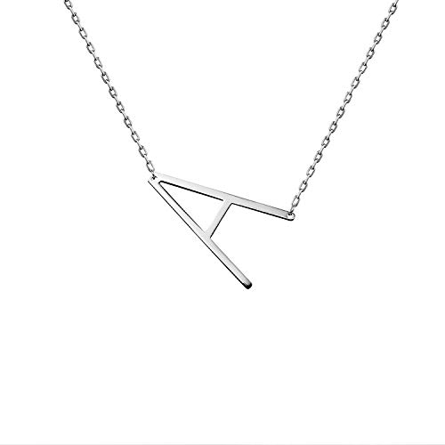 WIGERLON Stainless Steel Initial Letters Necklace for Women and Girls Color Gold and Silver from A-Z Letter A Color Sliver