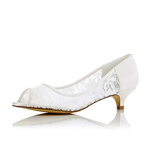 JIAJIA 01131 De Las Mujeres Zapatos de Novia Peep Toe Tacón bajo...