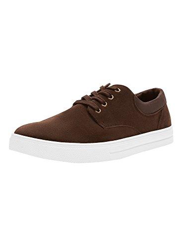 oodji Ultra Herren Sneakers in Wildlederoptik mit Lederimitat-Besatz, Braun, 44 EU / 10 UK